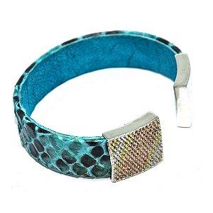 Bracelete de couro de phyton com zircônias