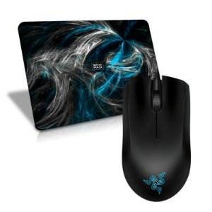 Mouse Razer Abyssus 1800DPI OEM + Mousepad Gamer WinPad AURA Blue Speed Médio - 36 x 28cm