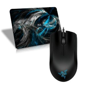 Mouse Razer Abyssus 1800DPI OEM + Mousepad Gamer WinPad AURA Blue Speed Mini - 23 x 19cm
