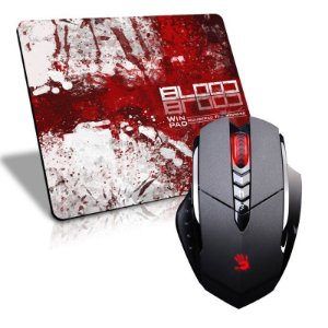 Mouse A4Tech X7 Bloody V7MA 3.200 DPI (Ultra Core 3 Ativado) + Mousepad Gamer WinPad Blood Grande Speed (45cm x 40cm x 0,3cm)