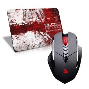 Mouse A4Tech X7 Bloody V7MA 3.200 DPI (Ultra Core 3 Ativado) + Mousepad Gamer WinPad Blood Médio Speed (36cm x 28cm x 0,3cm)
