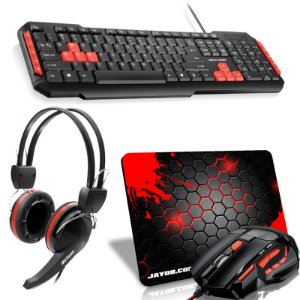 Combo Red Ampharos Mini. Mouse FireMouse MO236 + Teclado Multilaser Multimídia + Headset Crab + Mousepad Splash Mini