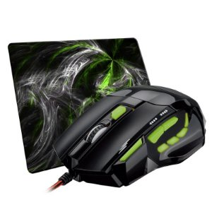 Combo Mouse Gamer Óptico Multilaser FireMouse (7 Botões / 2400 DPI) + Mousepad Winpad AURA Green Pequeno (Speed ou Control)