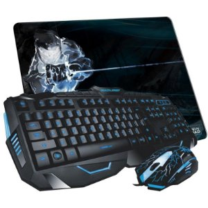 Combo Gamer Multilaser Lightning Mouse 2.000DPI + Teclado Iluminado ABNT2 - TC195 + Mousepad Eliminate LBK Médio (Speed ou Control)