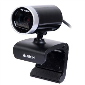 WebCam A4 Tech 16MP Full HD 1080p c/ Microfone - PK-910H Preta/Prata
