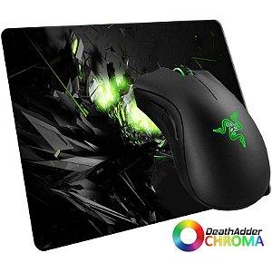 Mouse Razer DeathAdder Chroma 10000 DPI + MousePad Gamer WinPad GameON! Grande Speed ou Control - (45cm x 40cm x 0,3cm)
