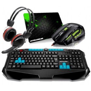 Combo Teclado Multilaser Gamer Metal War ABNT2 + Mouse Multilaser Gamer FireMouse 7 botões, 2400dpi + Fone Gamer Multilaser Crab + Mousepad Jayob Splash Green (Mini)