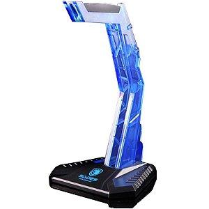 Suporte para Fone Sades Cradle Base Headset (Acrílico Azul)