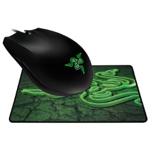 Combo Mouse Razer Abyssus 1800 DPI Green + Mousepad Goliathus Control (Pequeno)