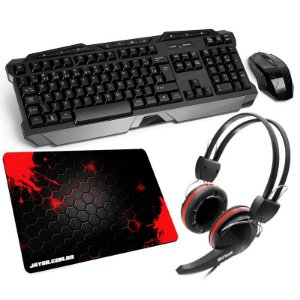 Combo Teclado Multilaser Wireless + Mouse 2.4GHz Wireless TC166 + Fone Crab + Mousepad Jayob Splash Red Mini (Speed ou Control)