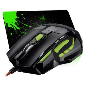 Combo Mouse Multilaser Gamer Óptico FireMouse 7 botões 2400dpi USB MO208 + Mousepad Jayob Splash Green - Pequeno Speed (30cm x 21cm x 0,3cm)
