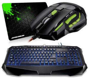Mouse Multilaser Gamer Óptico FireMouse 7 botões 2400dpi USB + Teclado Multilaser Gamer Warrior Iluminado + Mousepad Jayob Splash Green (Mini)