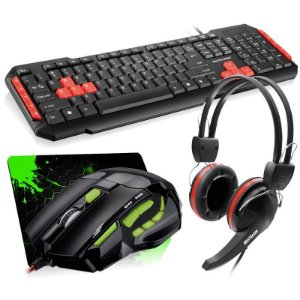 Combo Mouse Multilaser Gamer Óptico FireMouse 7 botões 2400dpi USB + Teclado Multilaser Gamer Multimídia USB + Fone Gamer Multilaser Crab Headset + Mousepad Jayob Splash Green (Mini)