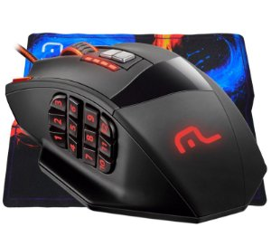 Mouse Multilaser Warrior Mo206 18 botões 4000dpi Preto USB + Mousepad