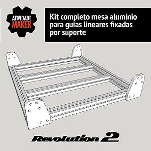 Kit Completo Mesa de Alumínio - guias por suporte