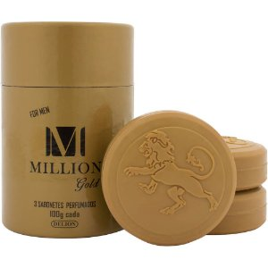 Lata com 3 sabonetes - Delion 100g cada - Million Gold