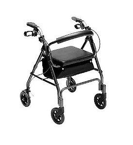 Andador de Alumínio 04 Rodas, Freios, Assento e Porta Objeto - Mobil
