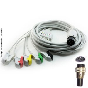 Cabo Paciente 5 Vias Compatível com CMOS DRAKE Tipo Neo Pinch Encaixe EPX-C512-N - Vepex