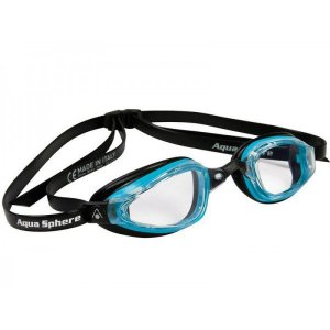 Oculos Michael Phelps K180+ Preto Turquesa Lente Transparente
