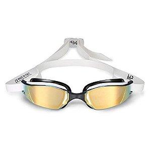 Óculos de Natação Michael Phelps Xceed Branco e Preto com Lente Titanium Gold