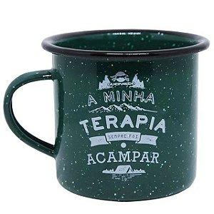 Caneca Esmaltada Camping Terapia