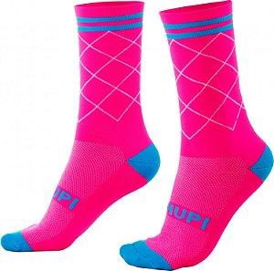 Meia Hupi Camo Rosa Neon
