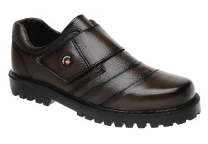 Sapato Café Fearnothi Em Couro Com Velcro