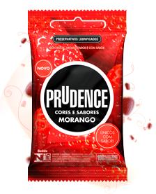 Preservativo Prudence - Cores e Sabores Morango - 3 un