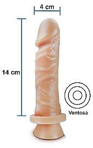 Pênis Realístico 50 - Maciço e com Ventosa - 14 x 4 cm