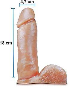 Pênis realístico 63 - Maciço com escroto - 18 x 4,7 cm