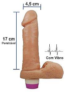 Pênis realístico Luxúria 60 - Com vibrador e escroto - 17 x 4,5 cm
