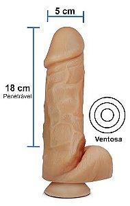 Pênis realístico 52 - Maciço, ventosa e escroto - 18 x 5 cm