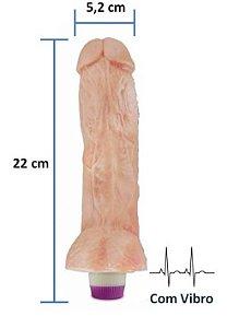 Pênis realístico Luxúria 46 - Com vibrador e escroto - 22 x 5,2 cm