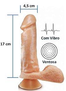 Pênis Realístico - 35 - Escroto, Ventosa e Vibrador - 17 x 4,5 cm