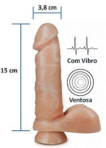 Pênis realístico Pura Ambição 37 - Com Vibrador, escroto e ventosa - 15 x 3,8 cm
