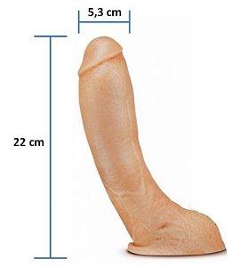 Pênis realístico Curva Ponto G 43 - Maciço e com Escroto - 22 x 5,3 cm