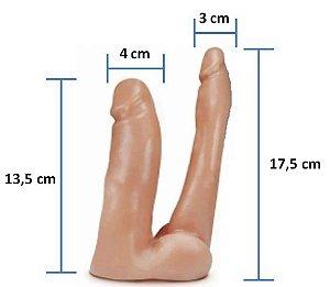 Pênis Realistico Dupla Penetração 26 - Maciço - Pele- 13,5 x 4 cm e 17,5 x 3 cm