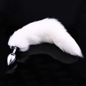 Plug Anal - Calda de Raposa do Ártico - Aço Inox - 9,5 x 4,1cm