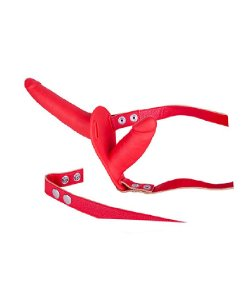 Strap On - Dupla Penetração - Silicone - Vermelho 17 e 10 X 2,5 cm