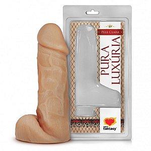 Pênis Realístico - Maciço e Escroto - PVC - Pele - 17,5 x 4,5 cm