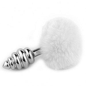 Plug Anal Metal Prata Escalonado Pompom Branco  - 8 x 3,5 cm