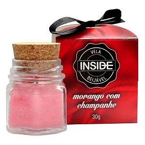 Vela para Massagem Sensual Beijável Morango com Champanhe - INSIDE