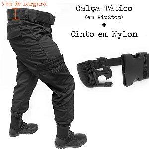 Calça Tática Rip Stop Masculino Padrão Militar Operacional 6 Bolsos + Cinto Nylon 5 cm - 3X Sem Juros