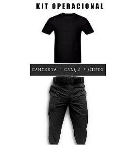 Kit - Calça Tática Preta em RipStop + Camiseta Preta + Cinto