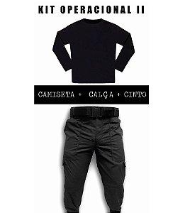 Kit - Calça Tática Preta em RipStop + Camiseta Preta Manga Longa + Cinto
