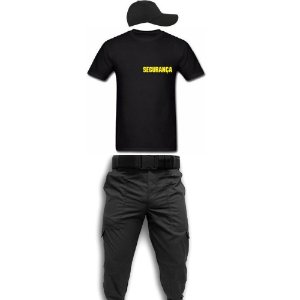 kit - Calça Tática Para Vigilante + Camiseta Segurança AM+ Cinto Operacional + Boné