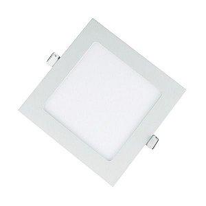 Plafon Led 12W de Embutir Slim Quadrado 17x17cm Completo - Luz Branca Fria, Neutra e Quente