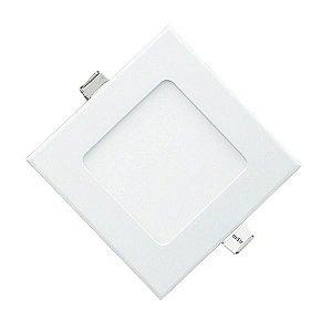 Plafon Led 6W de Embutir Slim Quadrado 12x12cm Completo - Luz Branca Fria e Quente