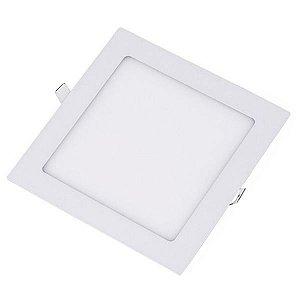 Plafon Led 18W de Embutir Slim Quadrado 22x22cm Completo - Luz Branca Fria e Quente