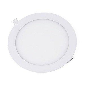 Plafon Led 18W de Embutir Slim Redondo Ø22cm Completo - Luz Branca Fria e Quente